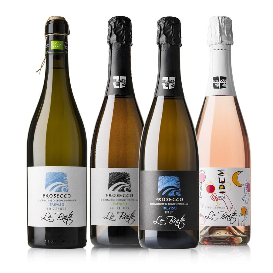 Group of sprackling organic wine